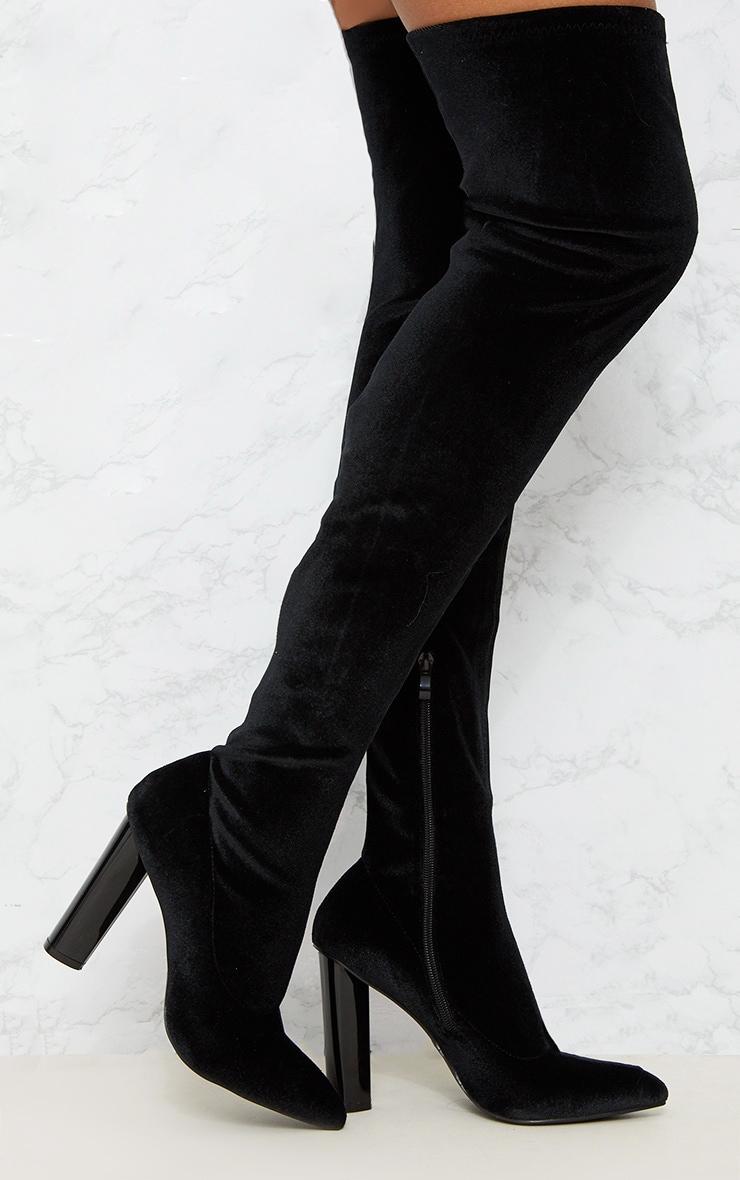 Black Velvet Thigh High Boot 2