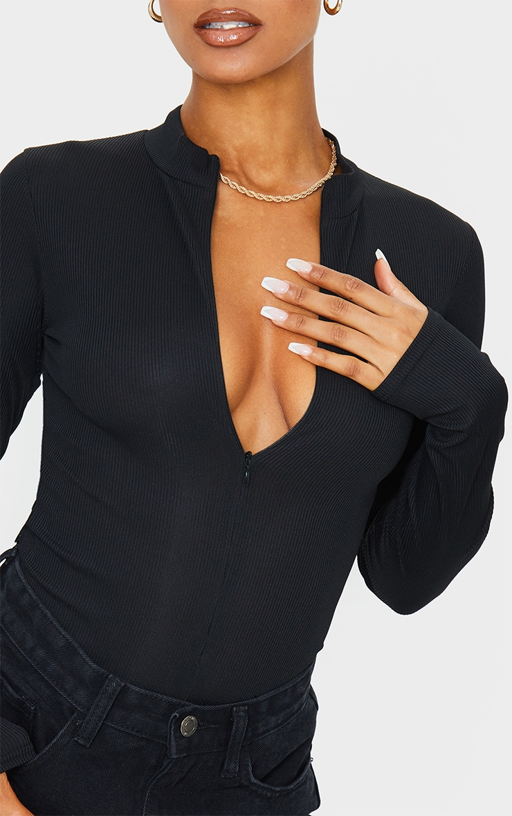 Black Rib Zip Up Long Sleeve Bodysuit 4
