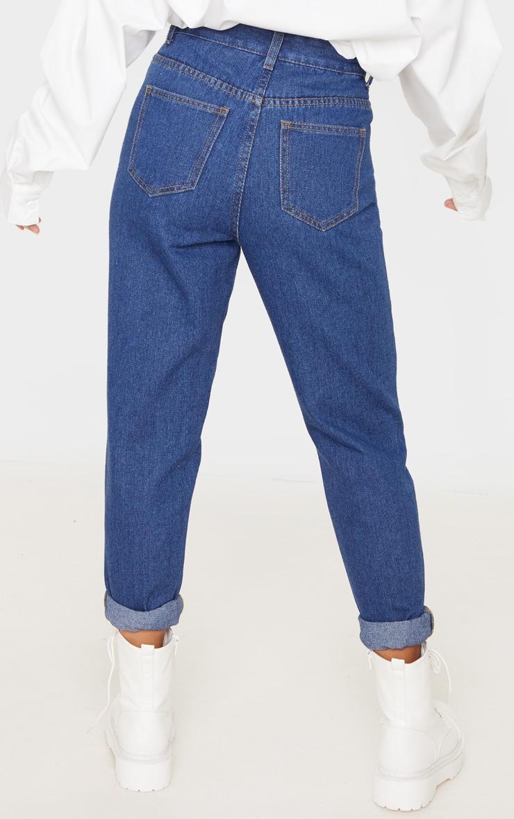 Petite Mid Blue Wash Basic Turn Mom Jean 4
