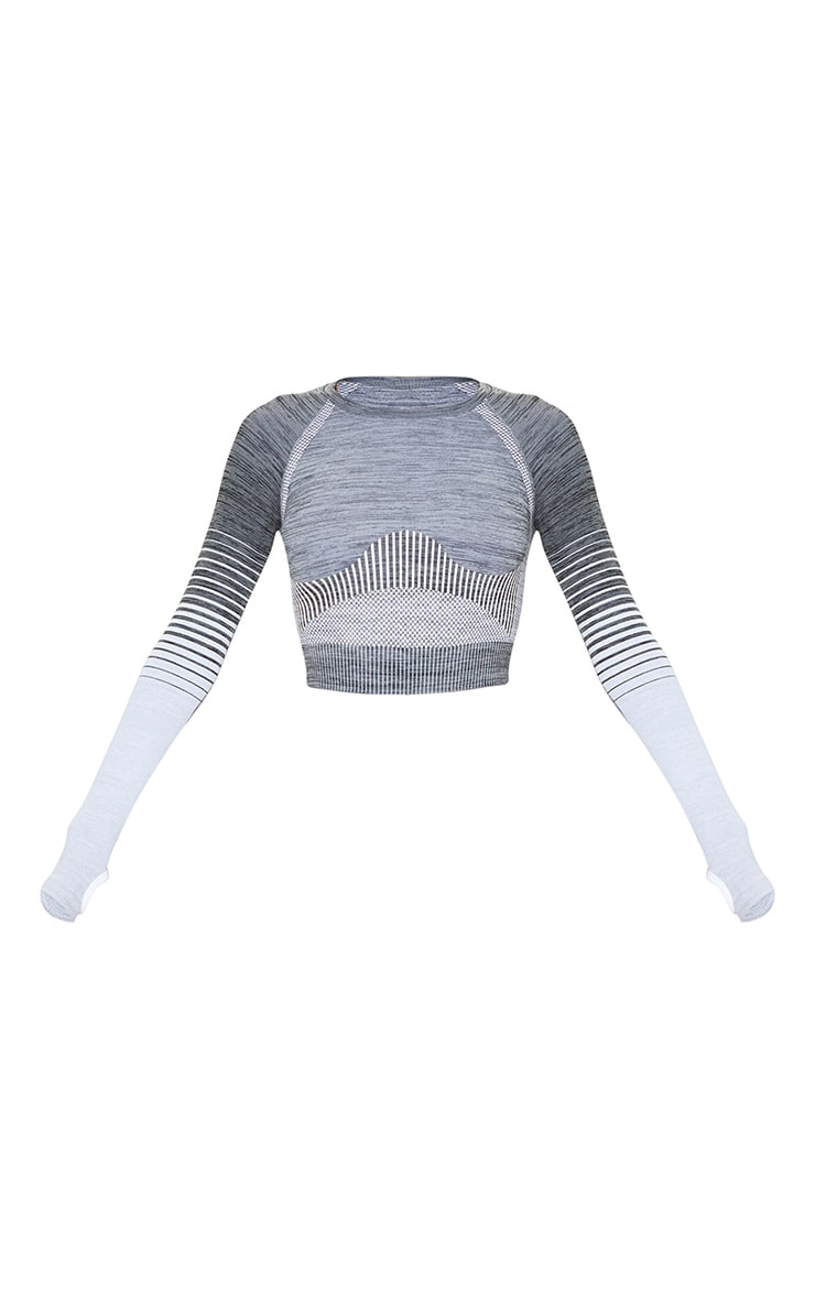 Grey Seamless Stripe Long Sleeve Sports Top 5