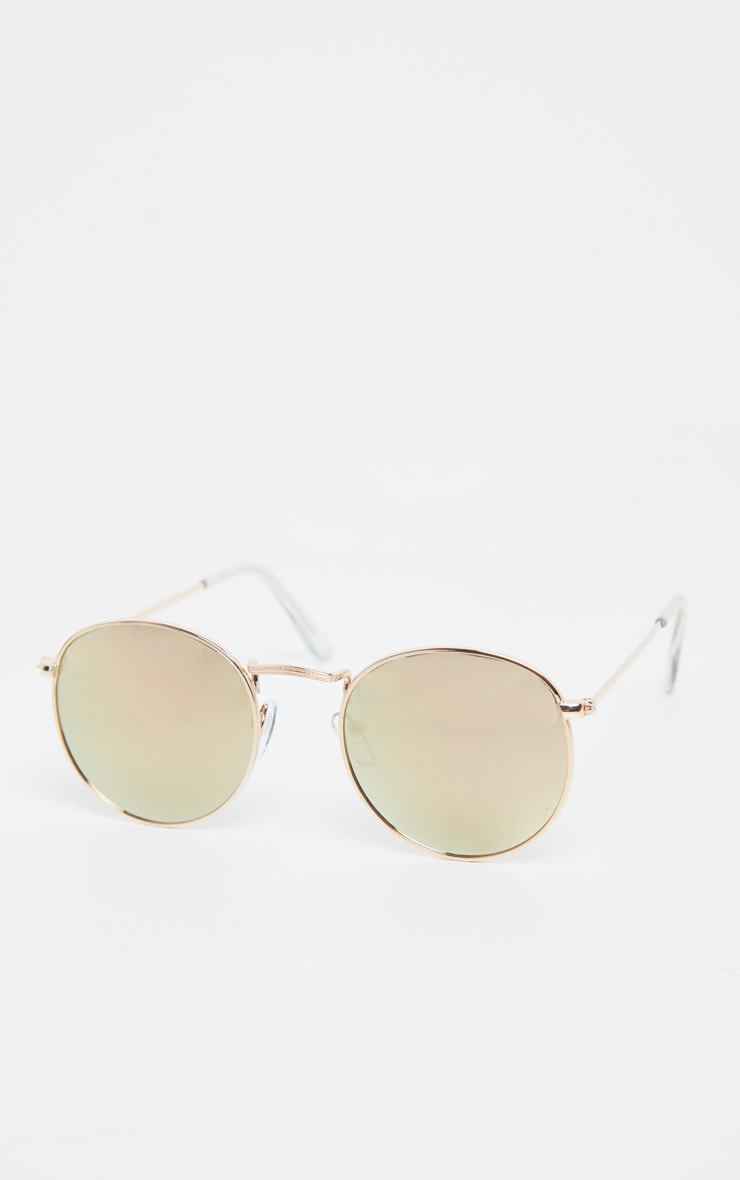 Gold Revo Pink Tint Lens Oval Retro Sunglasses image 3