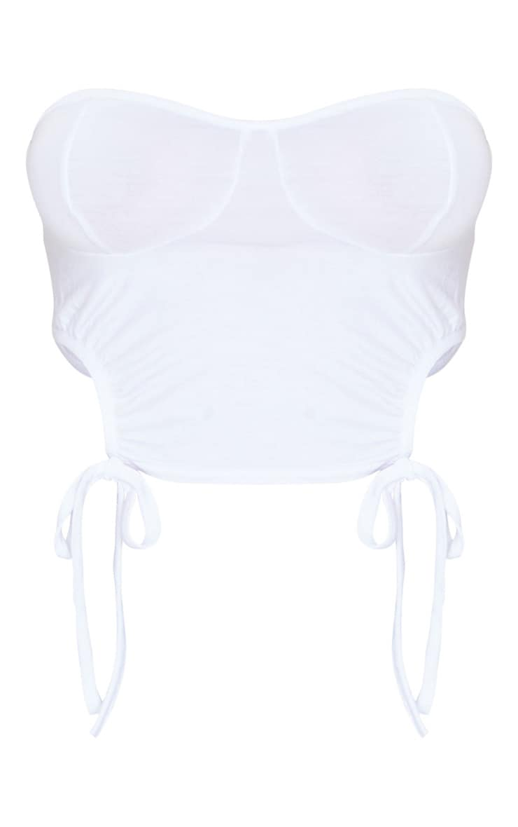 White Jersey Ruched Cup Detail Bandeau Top 5