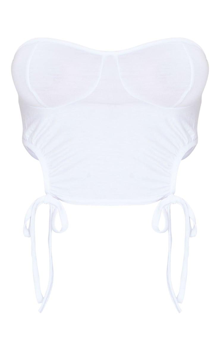 Bandeau en jersey blanc à détail bonnets froncés 5