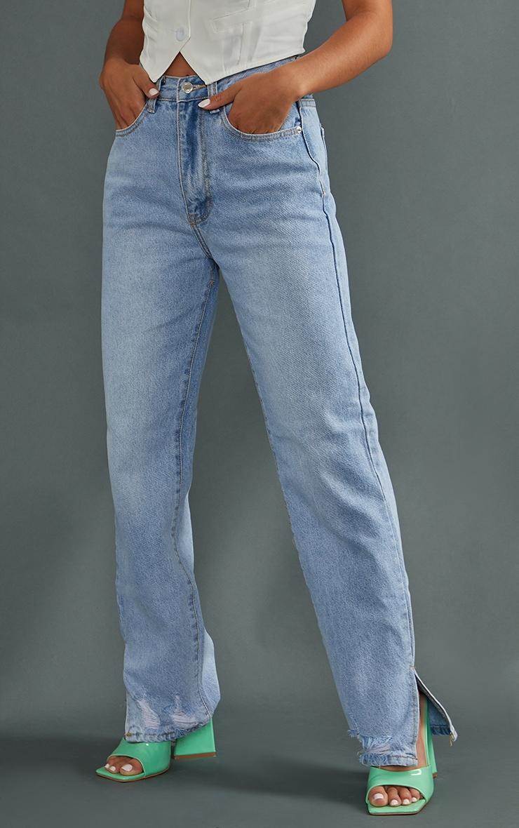Petite Mid Blue Wash Ripped Split Hem Straight Leg Jeans 2