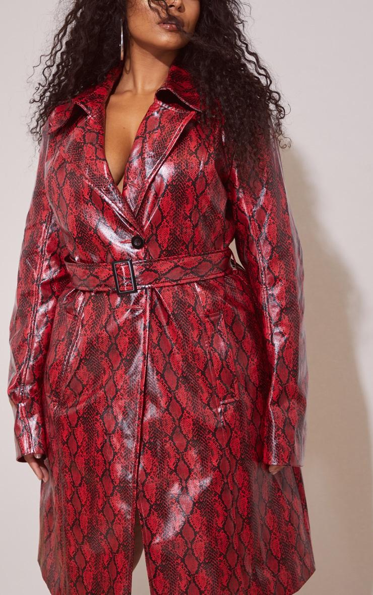 Plus Red Snake Vinyl Trench Coat 5