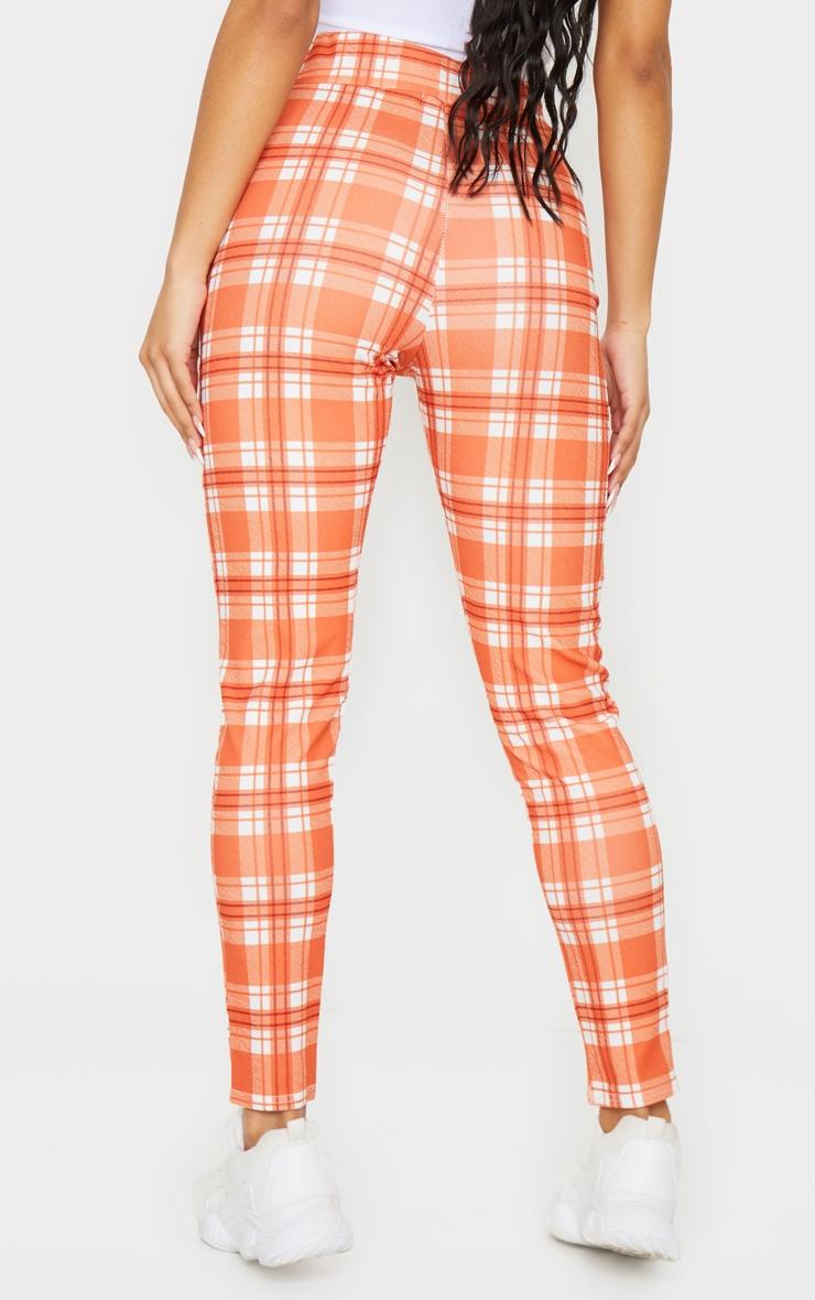 Orange Check Skinny Pants 3