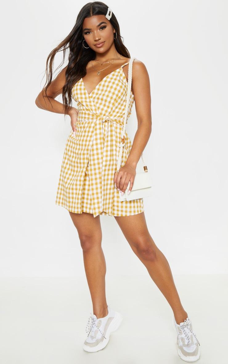 Mustard Check Print Wrap Strappy Shift Dress 4