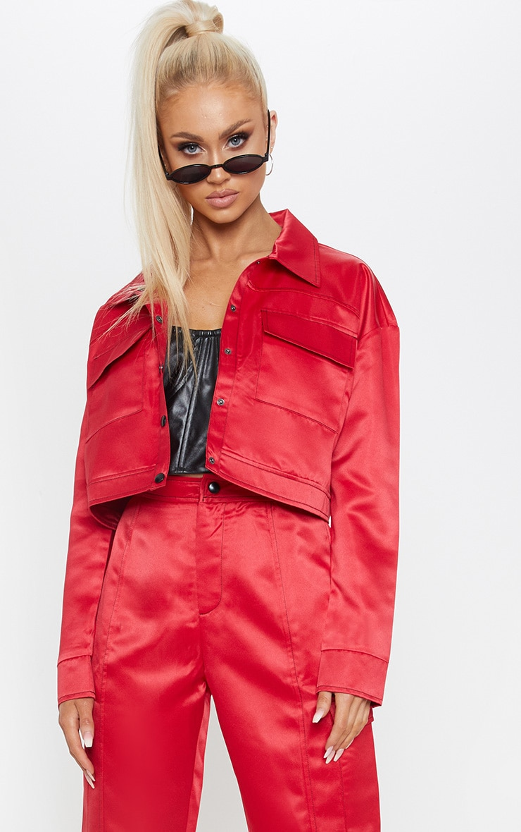 Red Contrast Stitch Military Crop Jacket 1