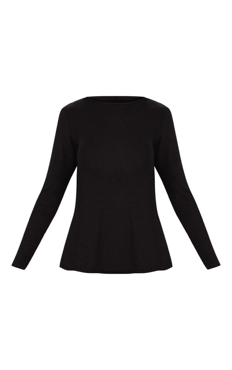 Black Long Sleeve Open Tie Back Top  3