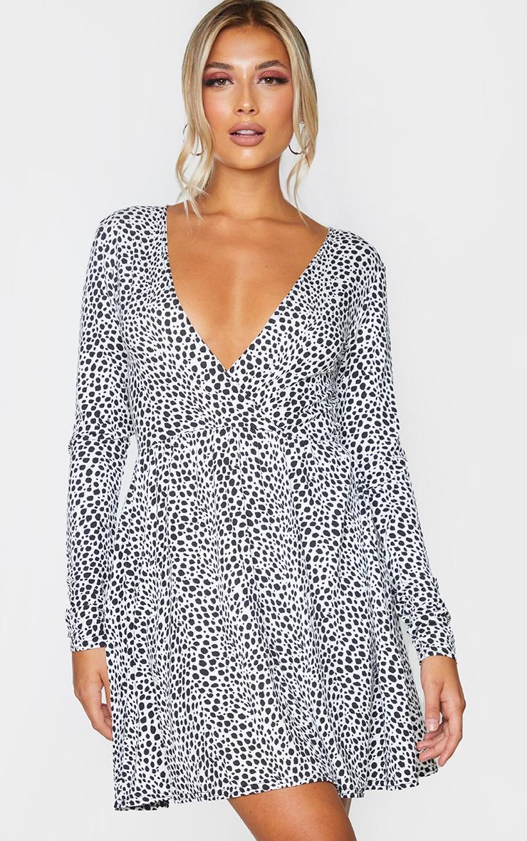White Dalmatian Print Wrap Long Sleeve Tea Dress 1