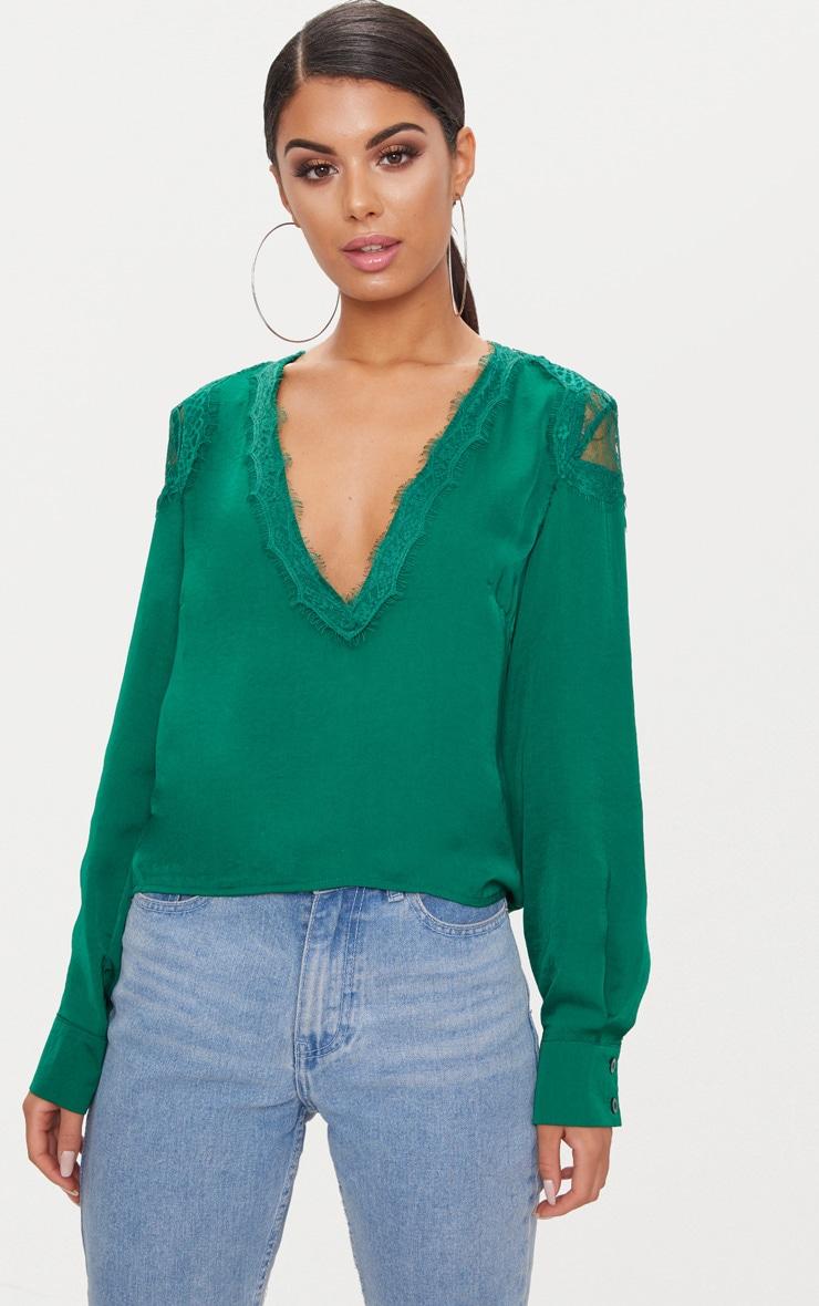 nouveau style de 2019 sortie en vente détaillant Chemisier décolleté à manches longues vert émeraude avec détail en dentelle  frangée