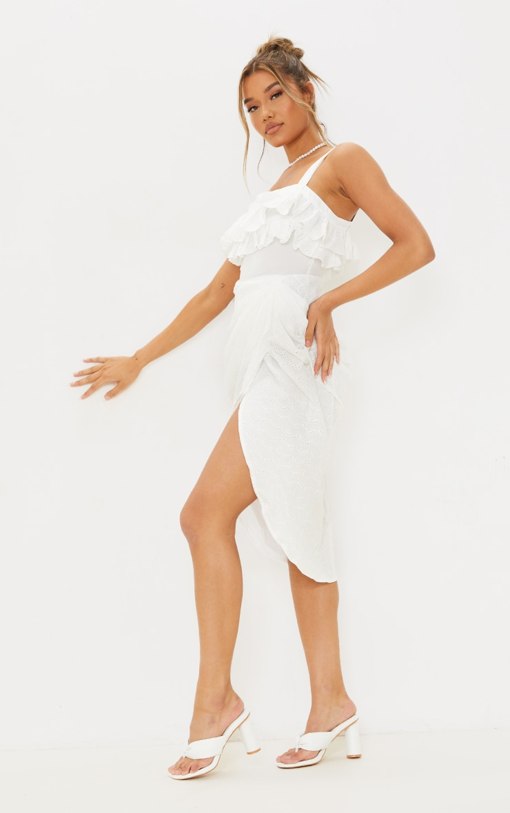 White Broderie Anglaise Strappy Frill Draped Midi Dress 3