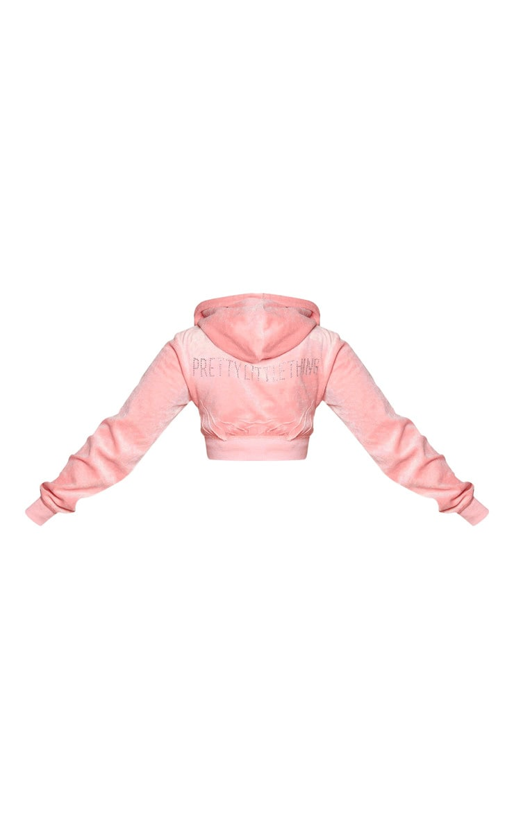 PRETTYLITTLETHING Shape Dusty Pink Velour Extreme Crop Sweater 6