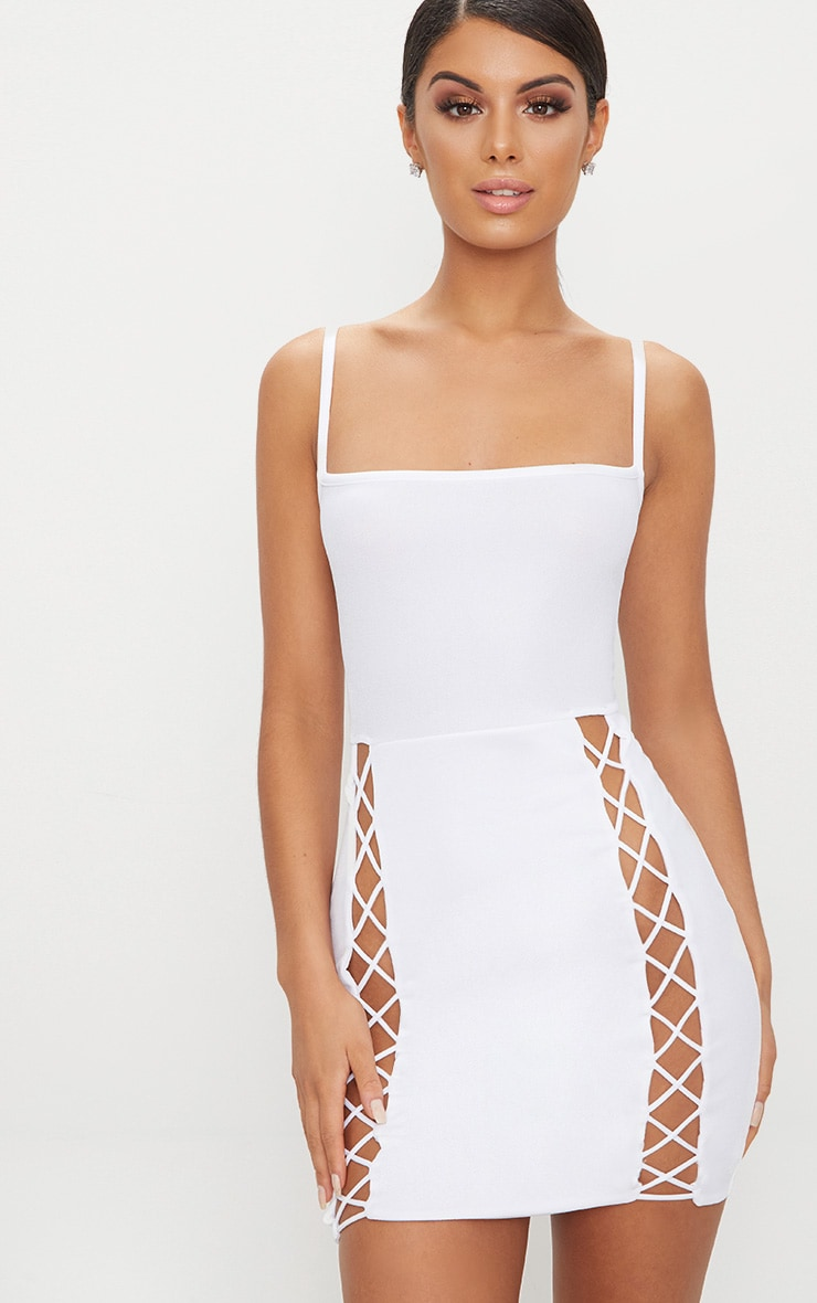 White Strappy Square Neck Lace Up Thigh Bodycon Dress 1
