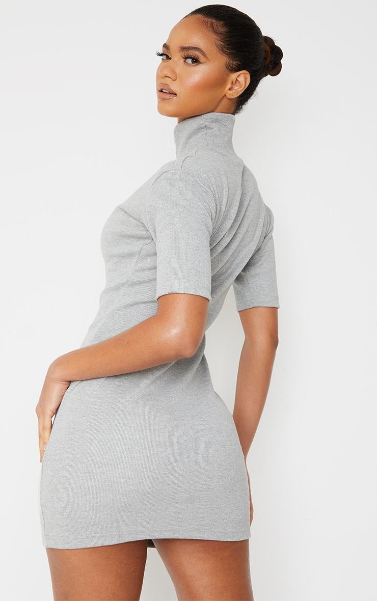 Grey Marl Rib High Neck Short Sleeve T Shirt Dress 2