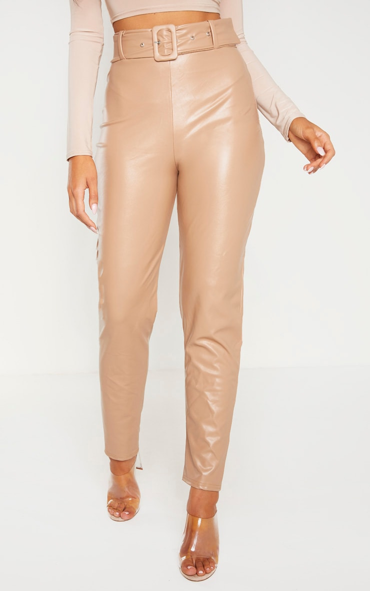 Stone Faux Leather Belted Skinny Trouser  2