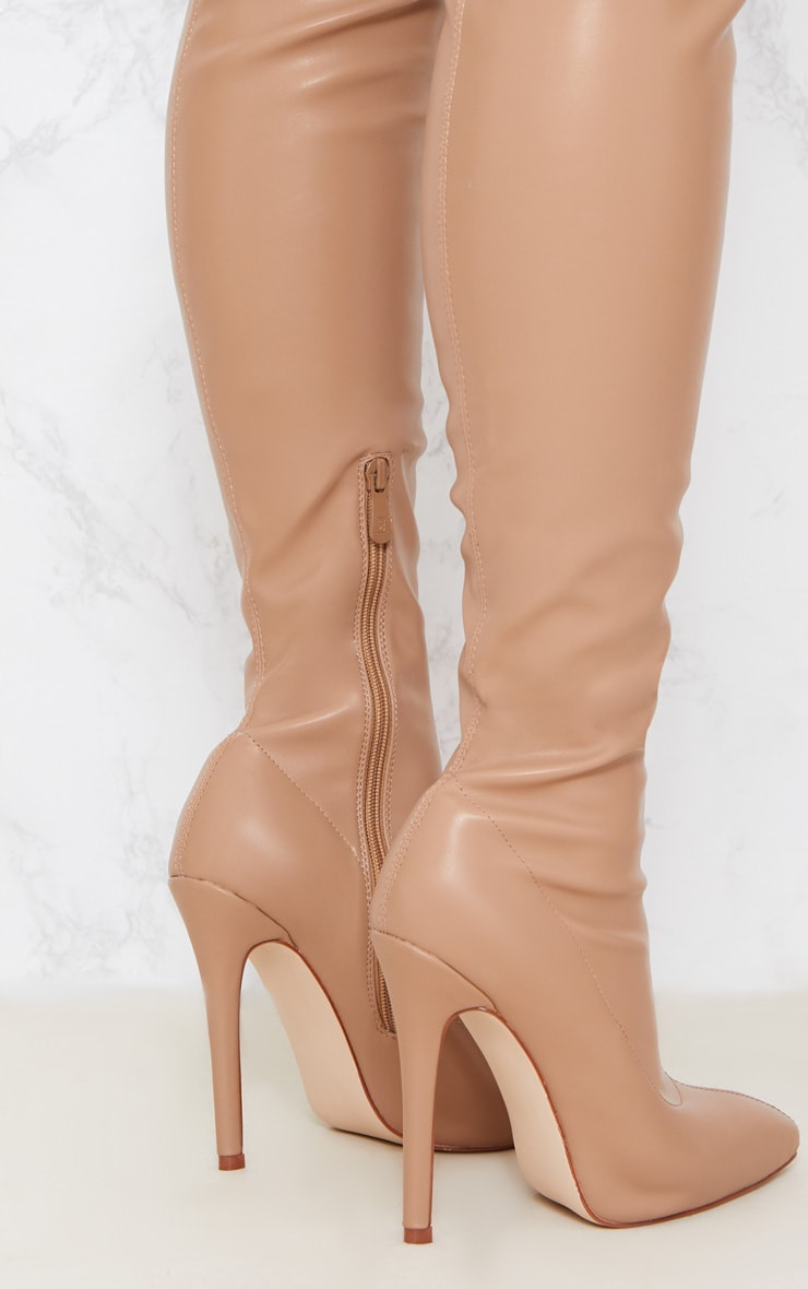 Beige PU Pointed Thigh High Boot 5