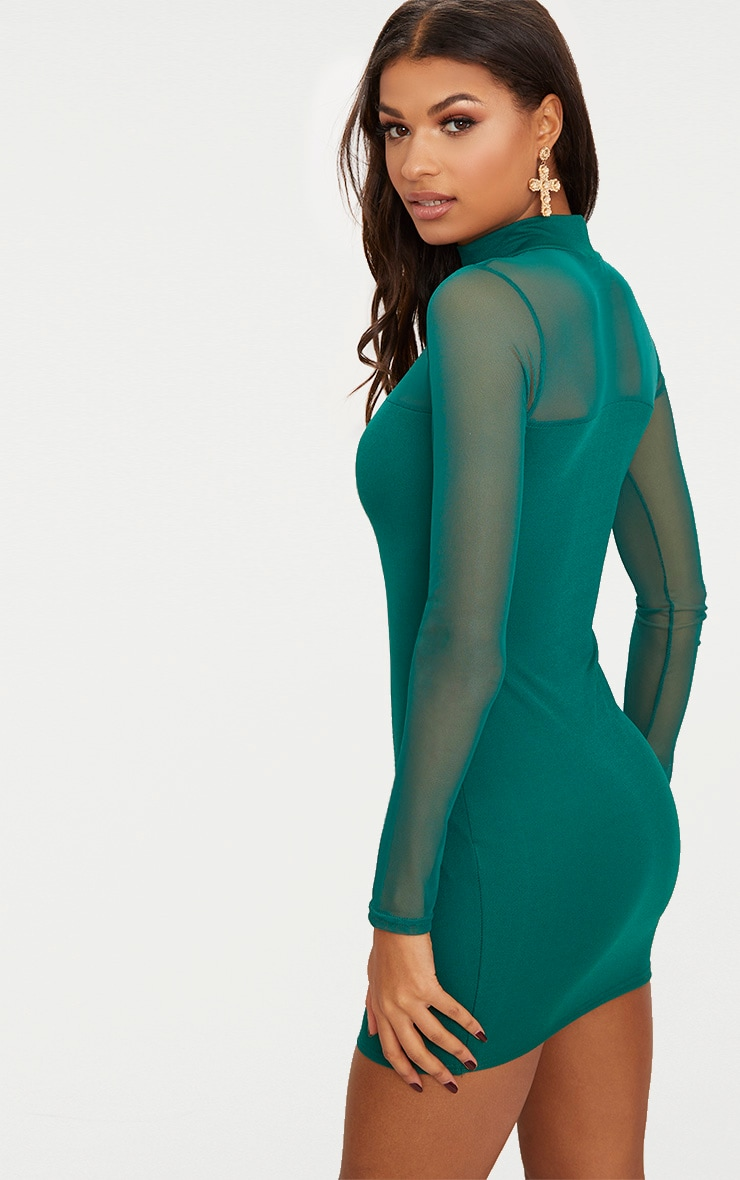 Emerald green High Neck Mesh Panel Bodycon Dress  2