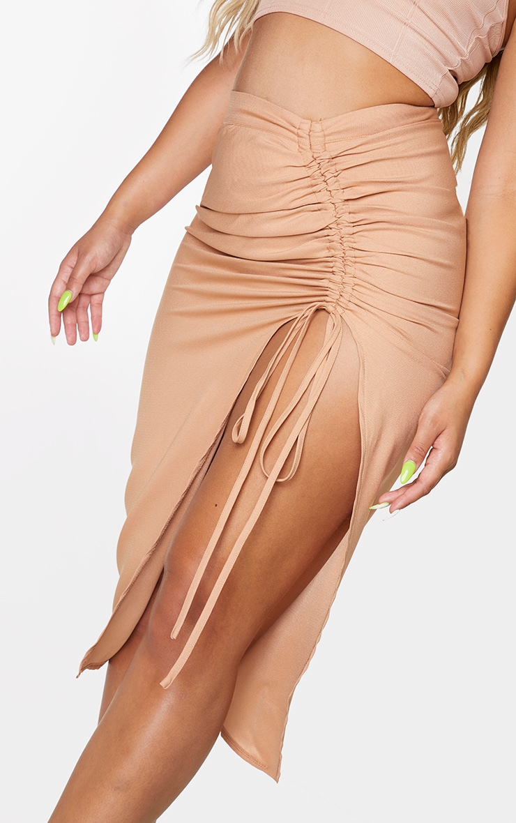 Camel Woven Ruched Detail Midi Skirt 4