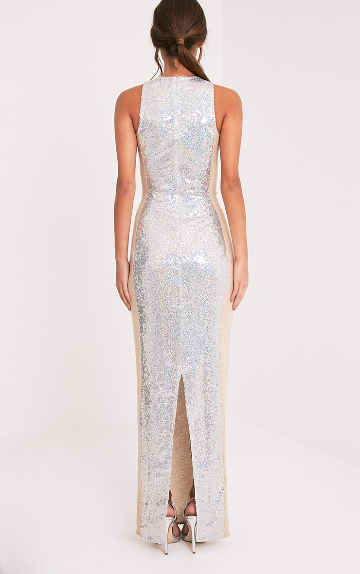 Carsie Silver Sleeveless Sequin Maxi Dress 2