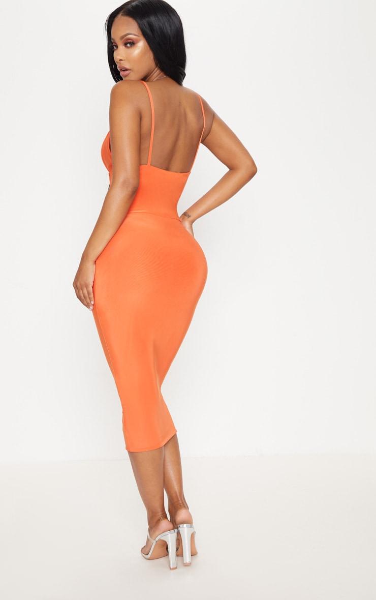 Shape Orange Slinky Panelled Midi Dress 2