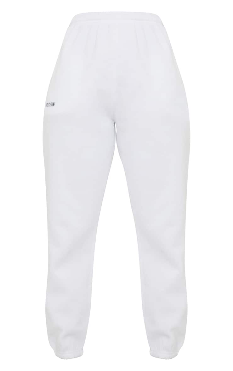 PRETTYLITTLETHING White Block Embroidered Joggers 5