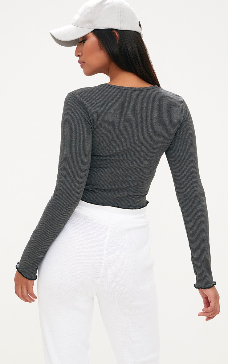 Grey Ribbed Longsleeve Frill Edge Crop Top 2