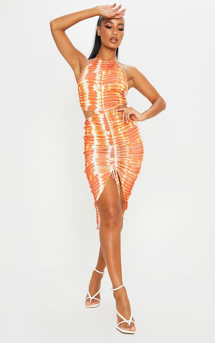 Orange Tie Dye Slinky Halterneck Cut Out Ruched Midi Dress 1
