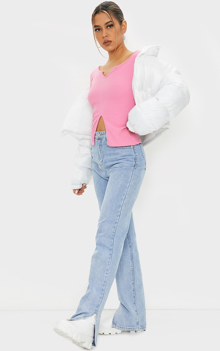 Pink Rib V Cut Out Long Sleeve Top 3