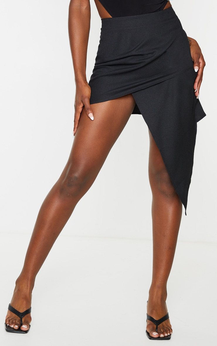 Black Woven Asymmetric Wrap Over Midi Skirt 2