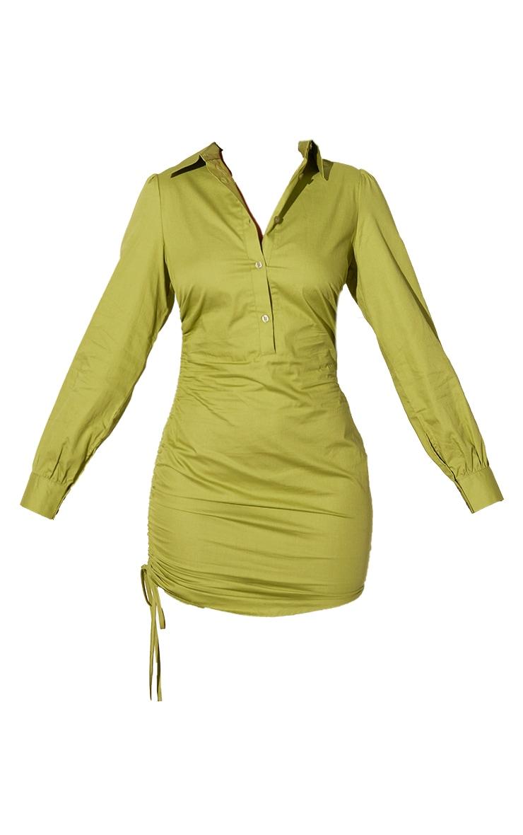 PLT Renew - Robe chemise vert olive délavé ajustée froncée sur le côté 5