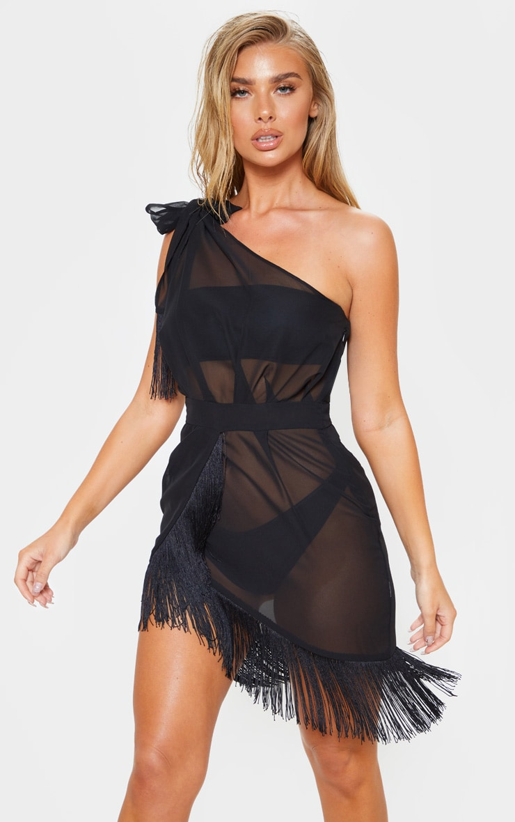 Black Asymmetric Fringe Beach Dress 1