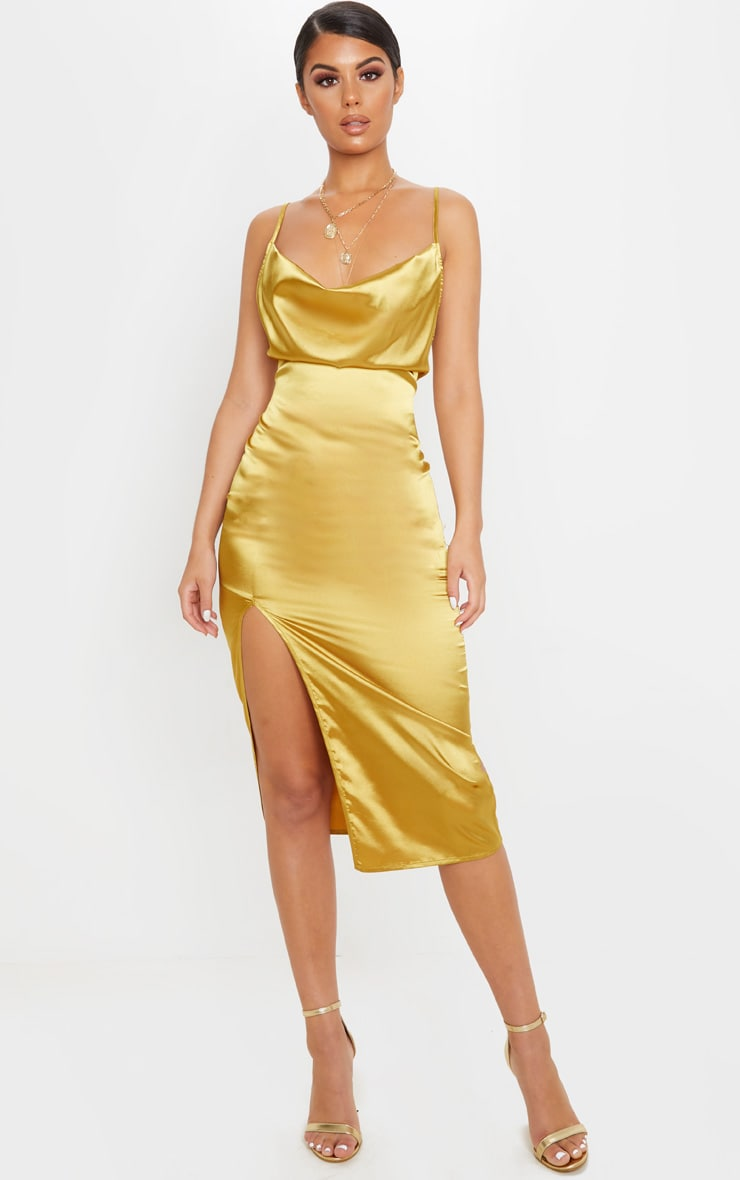 Gold Strappy Satin Cowl Midi Dress