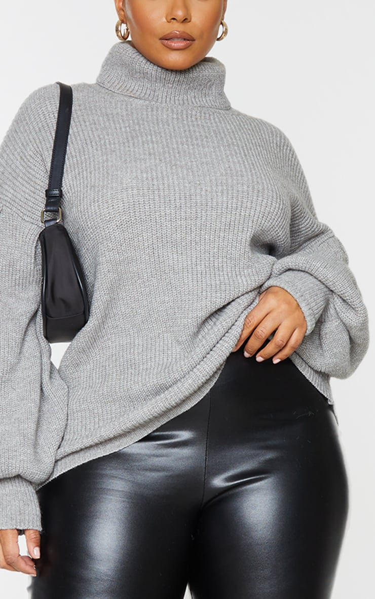 Plus Grey Roll Neck Balloon Sleeve Cosy Knit Sweater 4