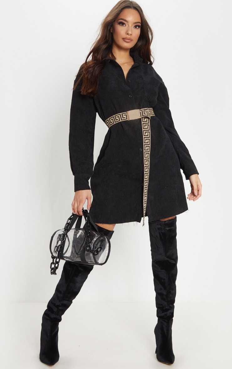 Black Corduroy Oversized Shirt Dress Prettylittlething Usa
