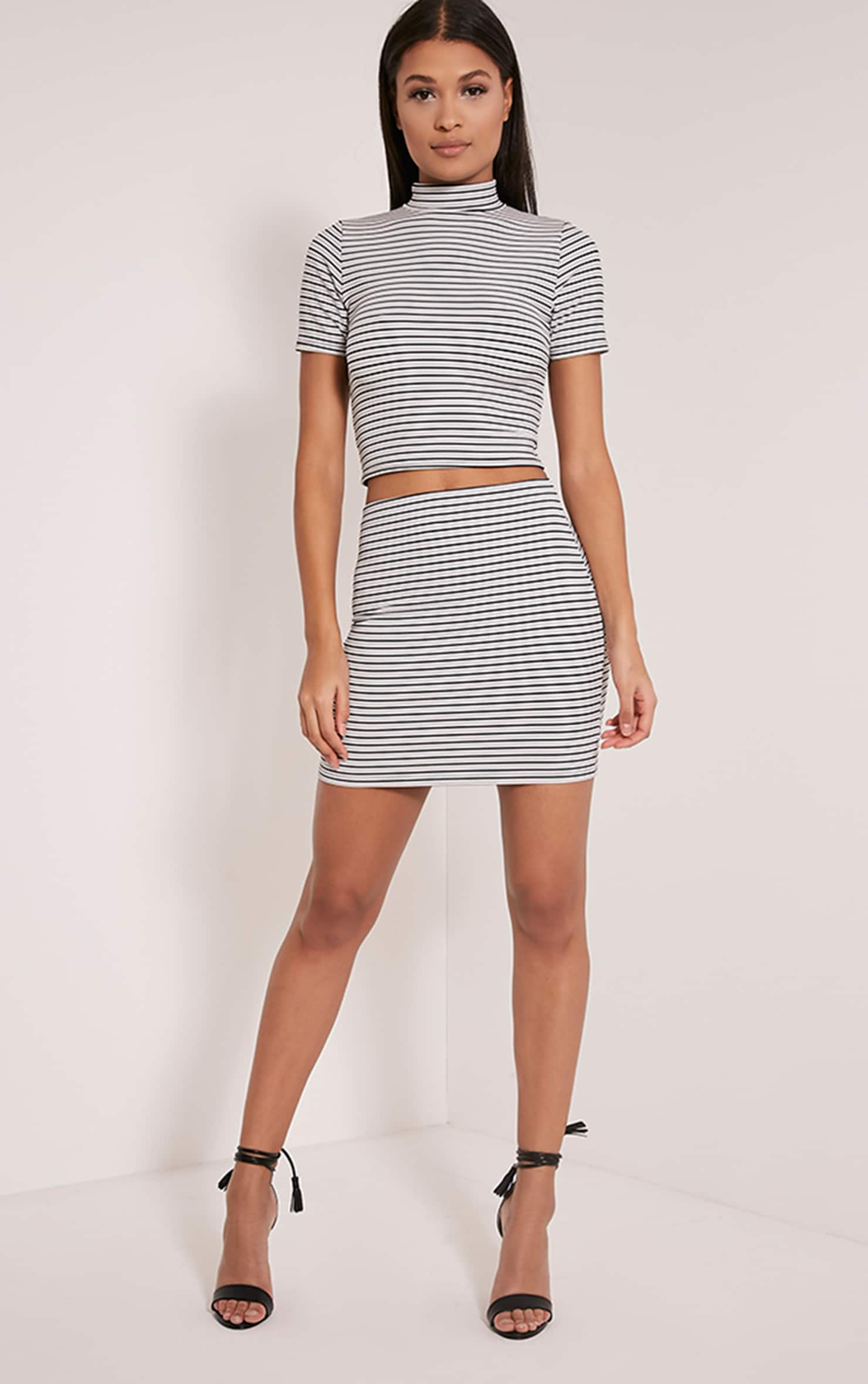 Leoni White Stripe Crop Top 5