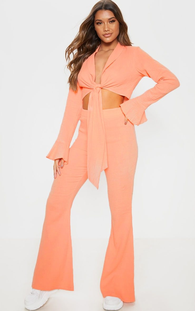 Coral Textured Flare Leg Trouser 1