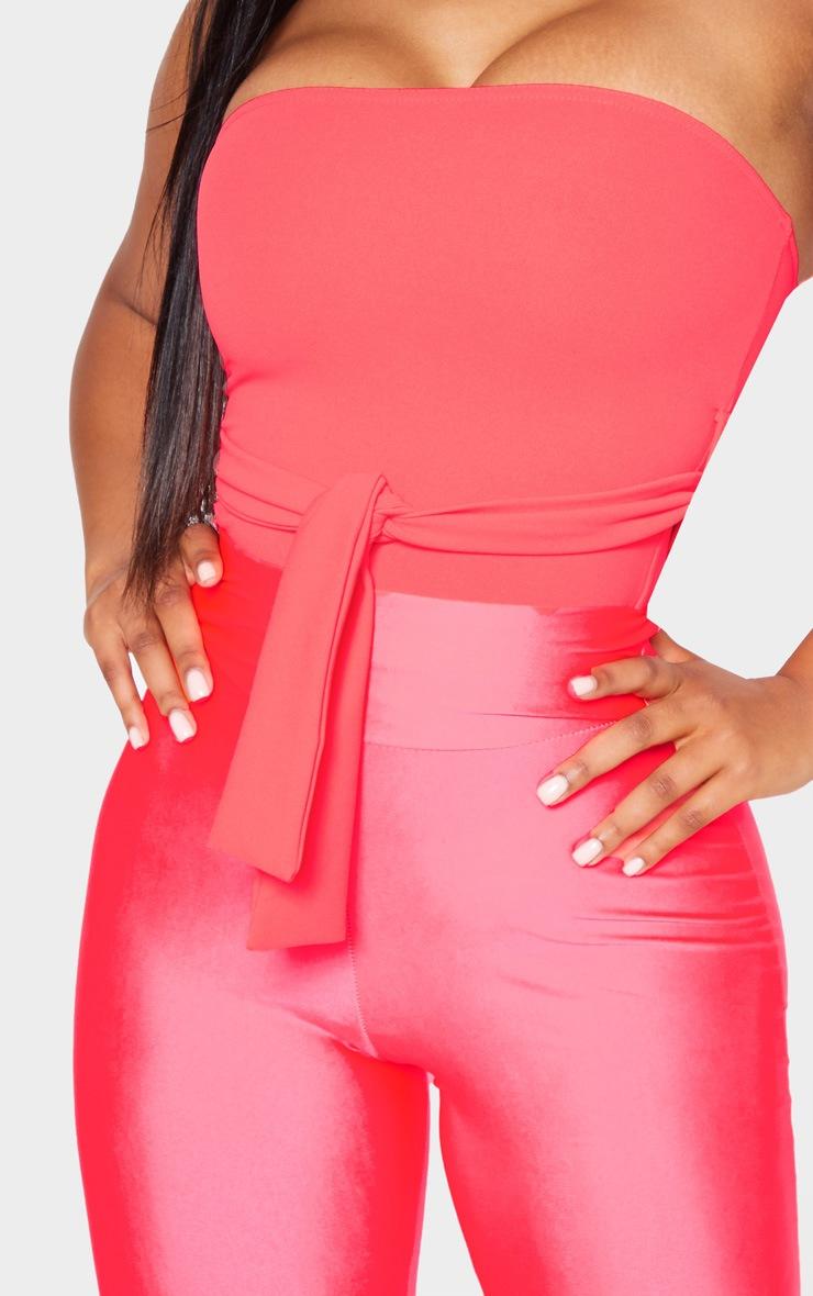 Neon Pink Crepe Tie Front Bandeau 5