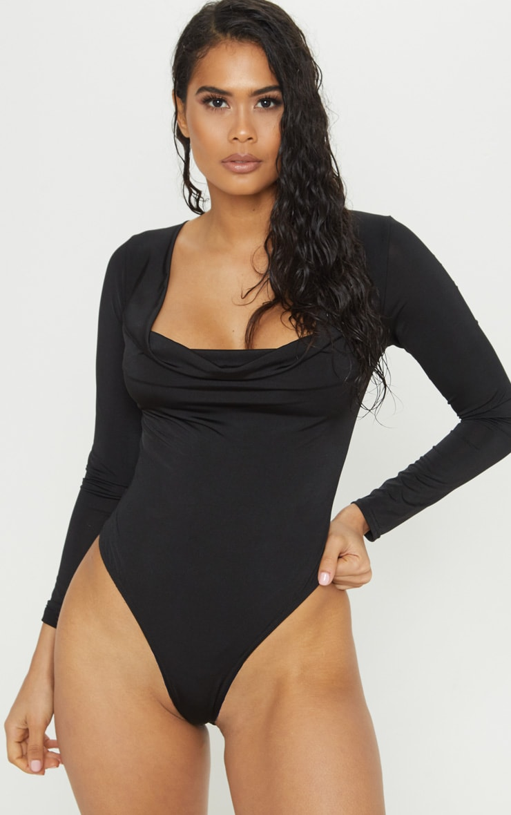 Black Slinky Cowl Neck Long Sleeve Bodysuit 2