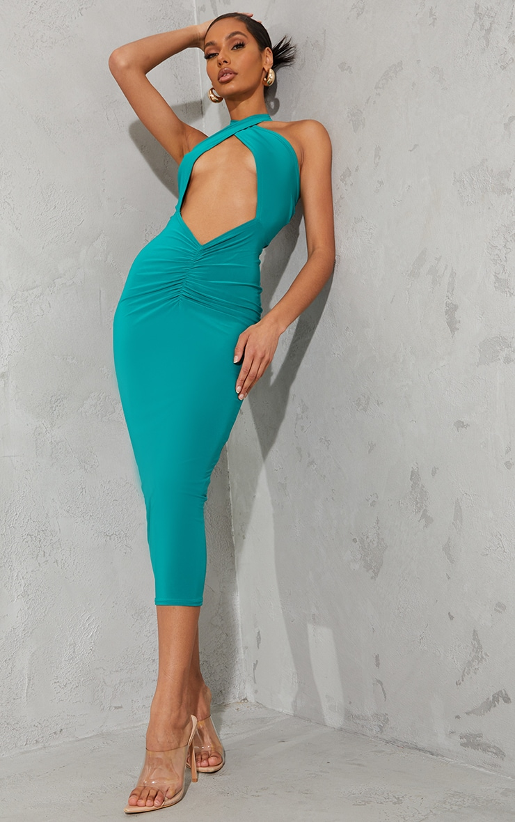Green Slinky Cross Halterneck Cut Out Midaxi Dress 1