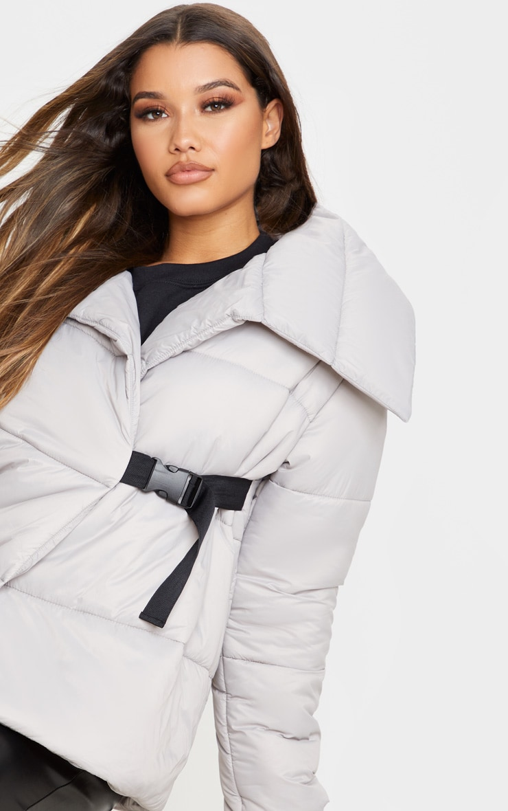 Grey Side Buckle Puffer Jacket 6