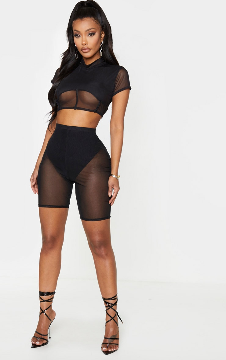 Shape Black Mesh High Waist Bike Shorts 4