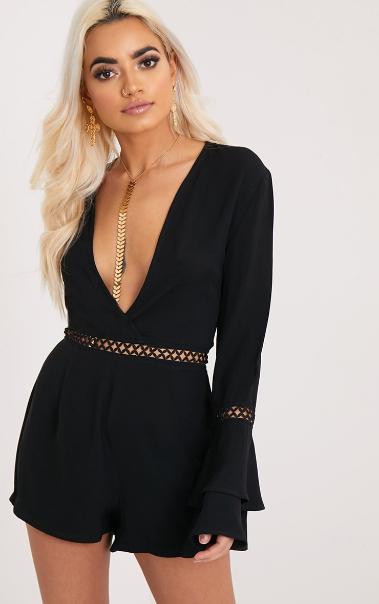 Marnie Black Frill Sleeve Playsuit 1