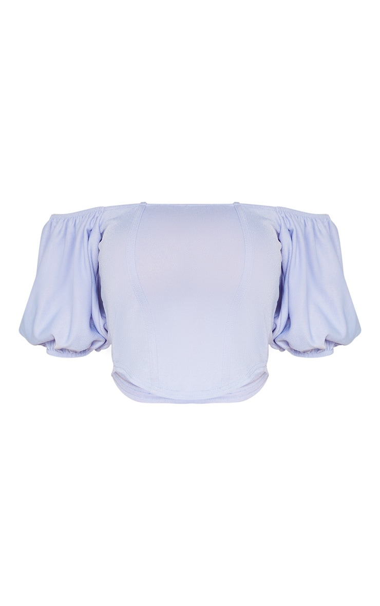 Tall -  Crop top bleu ciel style corset à ourlet arrondi 3