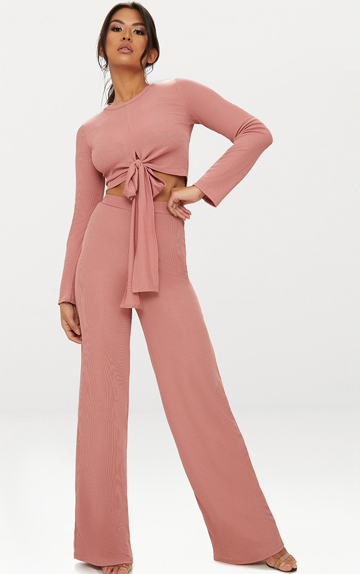 Blush Tie Front Long Sleeve Rib Top 4
