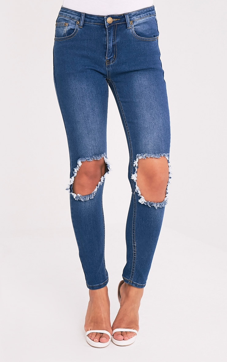 Mid Wash Open Knee Rip Slim Jean 2