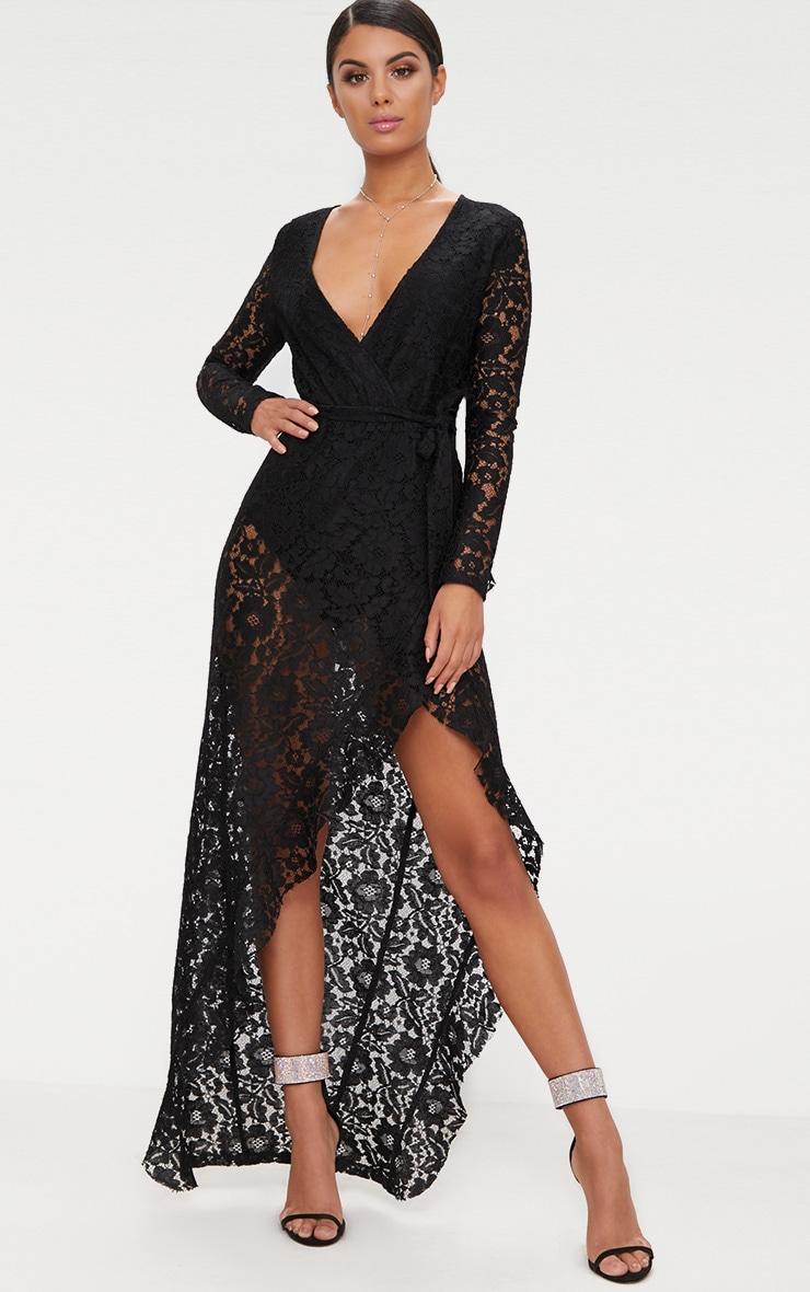 Black Lace Long Sleeve Wrap Front Maxi  1