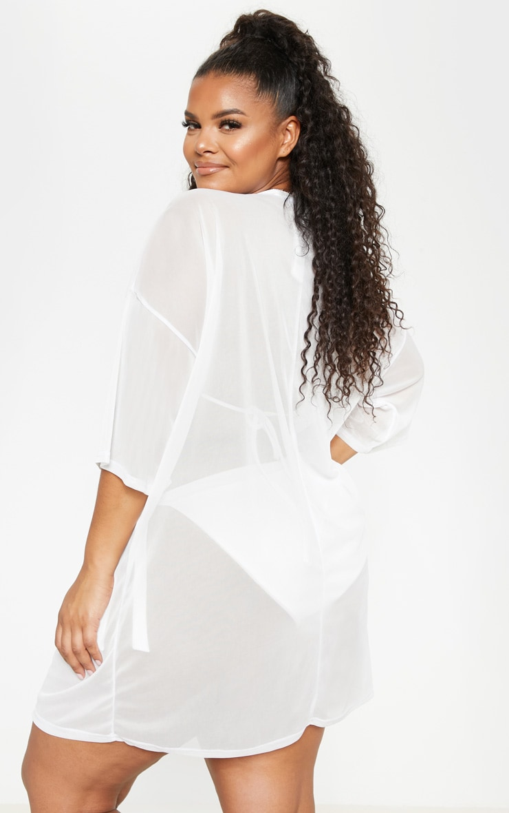 Plus White Plunge Chiffon Beach Cover Up  2