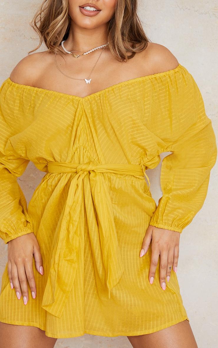 Yellow Woven Off The Shoulder Tie Waist Shift Dress 4