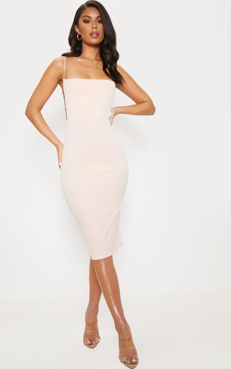 Nude Side Cut Out Detail Midi Dress 4
